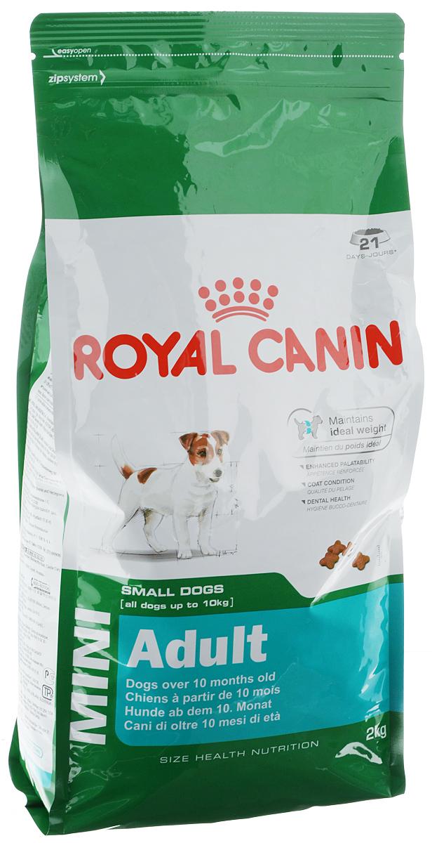 Корм сухой Royal Canin Mini Adult для собак мелких пород, 2 кг00570Корм сухой Royal Canin Mini Adult - полнорационный корм для взрослых собак мелких размеров (весом от 1 до 10 кг) в возрасте от 10 месяцев и старше. Особенности: Поддержание идеального веса L-карнитин стимулирует метаболизм жиров в организме. Удовлетворяет высокие энергетические потребности собак мелких размеров, благодаря точно рассчитанной энергоемкости рациона (3737 ккал/кг) и сбалансированному содержанию белка (27%). Улучшенные вкусовые качества Стимулирует аппетит благодаря своим уникальным свойствам. Текстура, форма и размер крокет специально разработаны для облегчения захвата корма. Тщательно отобранные ингредиенты, натуральные ароматизаторы и современная упаковка, сохраняющая свежесть и аромат продукта, гарантируют его превосходный вкус. Здоровая шерсть Питает шерсть, благодаря включению в состав корма серосодержащих аминокислот (метионин и цистин), жирных кислот Омега 6 и витамина А. Здоровье зубов ...