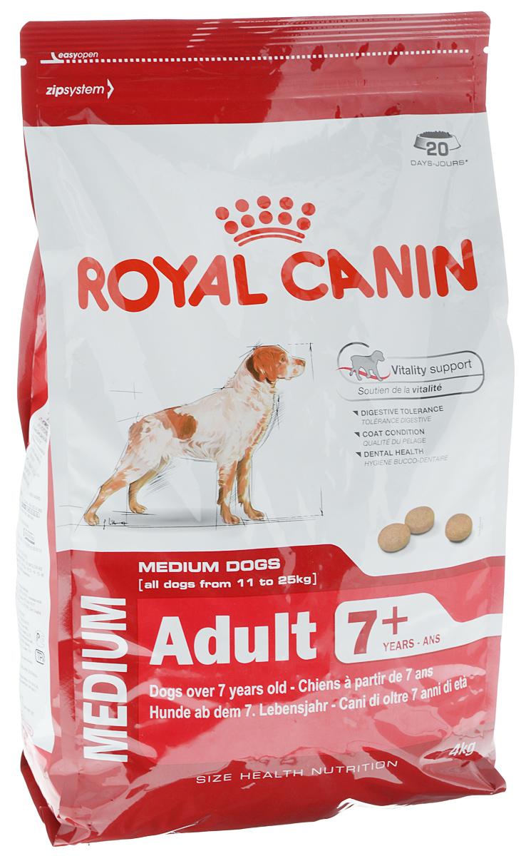 """Корм сухой Royal Canin """"Medium Adult 7+"""", для собак весом от 11 кг до 25 кг старше 7 лет, 4 кг 00587"""