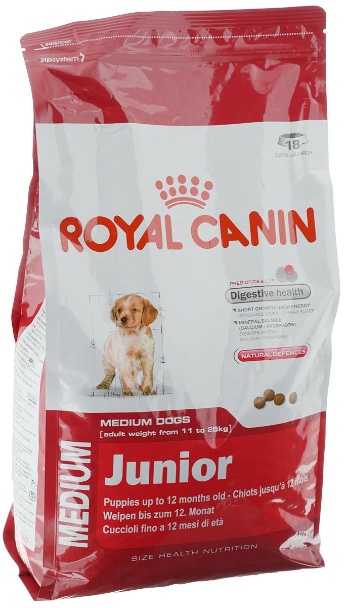 Корм сухой Royal Canin Medium Junior, для щенков весом от 11 кг до 25 кг в возрасте до 12 месяцев, 4 кг00582Сухой корм Royal Canin Medium Junior - полнорационный сухой корм для щенков собак средних размеров (вес взрослой собаки от 11 до 25 кг) в возрасте до 12 месяцев. Эксклюзивная комбинация питательных веществ обеспечивает оптимальную безопасность пищеварения (L.I.P. белки) и баланс кишечной флоры (пребиотики, ФОС, МОС), который способствует нормальной консистенции стула. Короткий период роста - большие энергозатраты. Удовлетворяет высокие энергетические потребности щенков средних пород в короткий период их роста. Минеральный баланс (кальций / фосфор). Способствует нормальному формированию и росту скелета у щенков средних размеров благодаря оптимальному содержанию кальция и фосфора. Способствует поддержанию естественных защитных сил организма благодаря запатентованному комплексу антиоксидантов и манноолигосахаридов. Состав: дегидратированные белки животного происхождения (птица), животные жиры, кукуруза, дегидратированные белки...