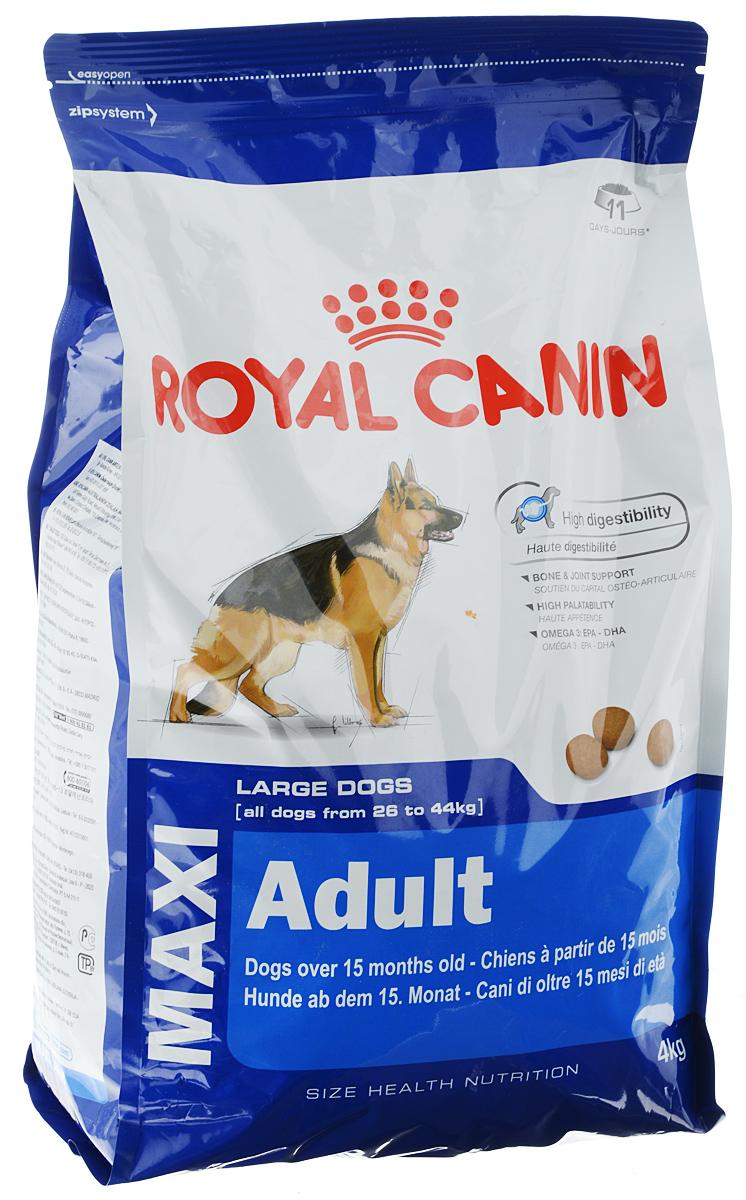 Корм сухой Royal Canin Maxi Adult, для собак весом от 26 до 44 кг в возрасте от 15 месяцев до 5 лет, 4 кг00594Полнорационный сухой корм Royal Canin Maxi Adult предназначен для взрослых собак крупных размеров (вес собаки от 26 до 44 кг) в возрасте от 15 месяцев до 5 лет. Корм способствует оптимальному перевариванию пищи благодаря эксклюзивной рецептуре с очень высоким содержанием белков и сбалансированным количеством пищевых волокон. Поддерживает кости и суставы собак крупных пород при повышенных нагрузках. Вызывает хороший аппетит у собак крупных пород благодаря тщательно подобранным натуральным вкусам и ароматам. Рацион обогащен жирными кислотами Омега-3 (EPA-DHA) для сохранения здоровой кожи. Состав: кукуруза, дегидратированные белки животного происхождения (птица), кукурузная мука, животные жиры, дегидратированные белки животного происхождения (свинина), гидролизат белков животного происхождения, свекольный жом, кукурузная клейковина, минеральные вещества, рыбий жир, соевое масло, дрожжи, гидролизат из панциря ракообразных (источник глюкозамина),...