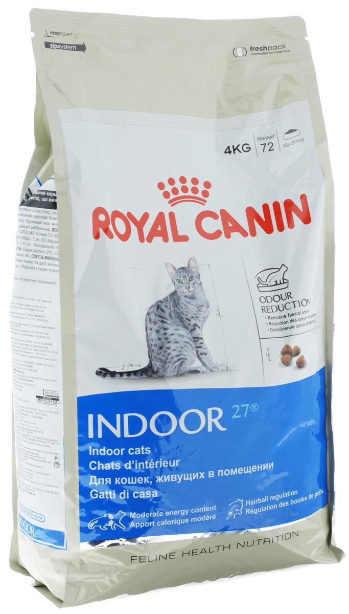 Корм сухой Royal Canin Indoor 27, для кошек в возрасте от 1 года до 7 лет, живущих в помещении, для ослабления запаха фекалий, 4 кг00695Сухой корм Royal Canin Indoor 27 - полнорационное питание для кошек от 1 до 7 лет, живущих в помещении. Кошка, постоянно живущая в помещении, ограничена в движении, поэтому большую часть своего времени она тратит на сон и прием пищи. Низкая активность кошки вызывает вялую работу кишечника и, как следствие, появление жидкого стула с резким неприятным запахом. У домашних кошек повышается риск появления избыточного веса. Ежедневное вылизывание шерсти приводит к образованию волосяных комочков в желудке кошки. Ослабление запаха фекалий. Ослабляет запах фекалий кошки благодаря высокому содержанию L.I.P. Высокоперевариваемый корм Royal Canin Indoor 27 способствует значительному ослаблению запаха стула кошки в результате уменьшения выделения сероводорода - зловонного газа, выделяющегося из фекалий. Умеренное содержание энергии: способствует уменьшению жировых отложений у кошек за счет умеренного содержания калорий и добавления L-карнитина...