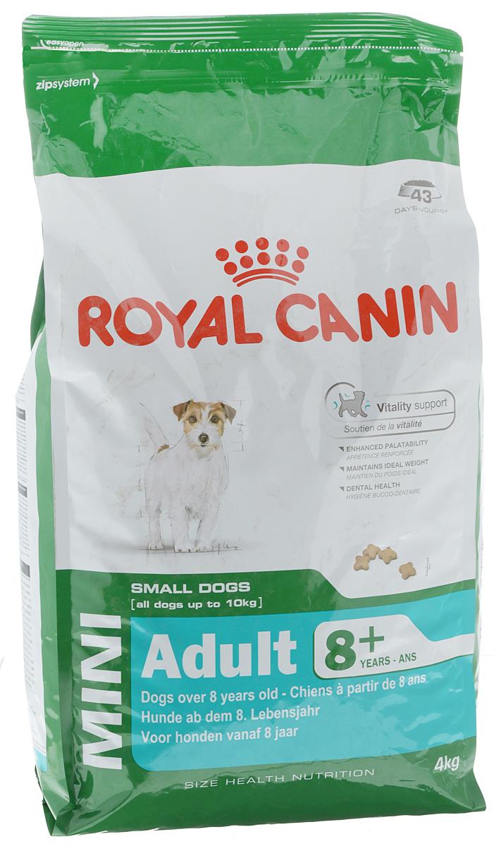 Корм сухой Royal Canin Mini Adult 8+, для собак весом до 10 кг старше 8 лет, 4 кг55854Сухой корм Royal Canin Mini Adult 8+ является полнорационным кормом для стареющих собак (в возрасте 8 лет и старше) мелких размеров. Особенности корма Royal Canin Mini Adult 8+: обеспечивает поддержание оптимального веса; питает шерсть собаки; способствует прекрасному аппетиту; помогает сократить отложение зубного камня. Состав: кукуруза, рис, дегидратированное мясо птицы, животные жиры, кукурузная клейковина, кукурузная мука, гидролизат белков животного происхождения, изолят растительных белков, свекольный жом, минеральные вещества, дрожжи, соевое масло, рыбий жир, фруктоолигосахариды. Пищевые добавки на 1 кг: витамин А 22200 МЕ, витамин D3 1000 МЕ, железо 47 мг, йод 4,7 мг, марганец 60 мг, цинк 181 мг, селен 0,08 мг, L-карнитин 50 мг, триполифосфат натрия 3,5 г, консервант, антиокислители. Питательные вещества: белки 27%, жиры 16%, минеральные вещества 4,7%, клетчатка 1,5%, медь 15 мг/кг. Товар...