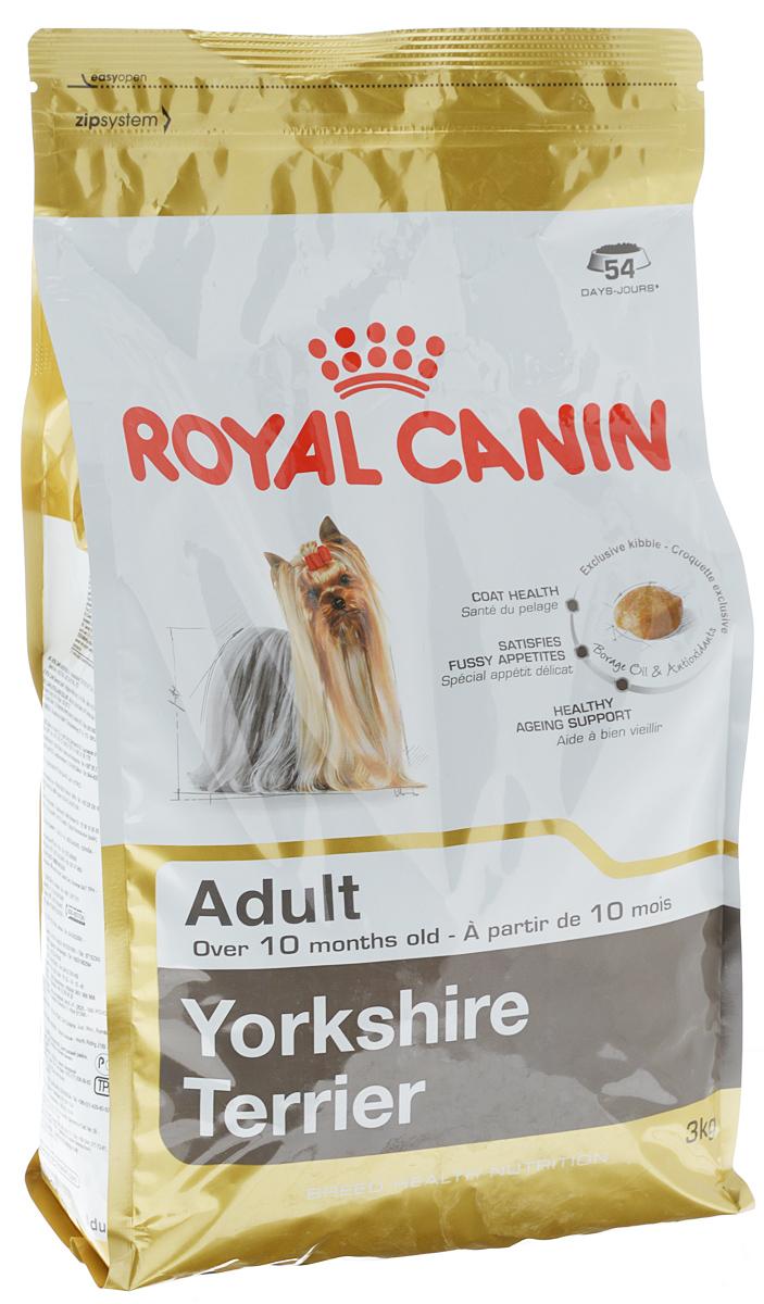 Корм сухой Royal Canin Yorkshire Terrier Adult, для собак породы йоркширский терьер в возрасте от 10 месяцев, 3 кг44393Royal Canin Yorkshire Terrier Adult - полнорационный сухой корм для собак породы йоркширский терьер в возрасте от 10 месяцев. Йоркширский терьер - это сказочное создание, которое очаровывает с первой минуты знакомства с ним. Тоненькие, хрупкие и изящные йорки в силу своей физиологии нуждаются в максимальном поступлении в организм аминокислот, необходимых для развития шерсти и ее быстрого роста. Многие корма для йорков имеют крокеты слишком крупного размера, тогда как продукция Royal Canin Yorkshire Terrier Adult разработана специально для небольших челюстей этих собак. Здоровая шерсть.Эта эксклюзивная формула поддерживает здоровье и красоту шерсти йоркширского терьера. Корм обогащен жирными кислотами Омега-3 (EPA и DHA) и Омега-6, маслом бурачника и биотином. Вкусовая привлекательность.Благодаря высокой вкусовой привлекательности корм способен удовлетворить потребности даже самых привередливых питомцев. Долголетие.Особый комплекс с питательными веществами...