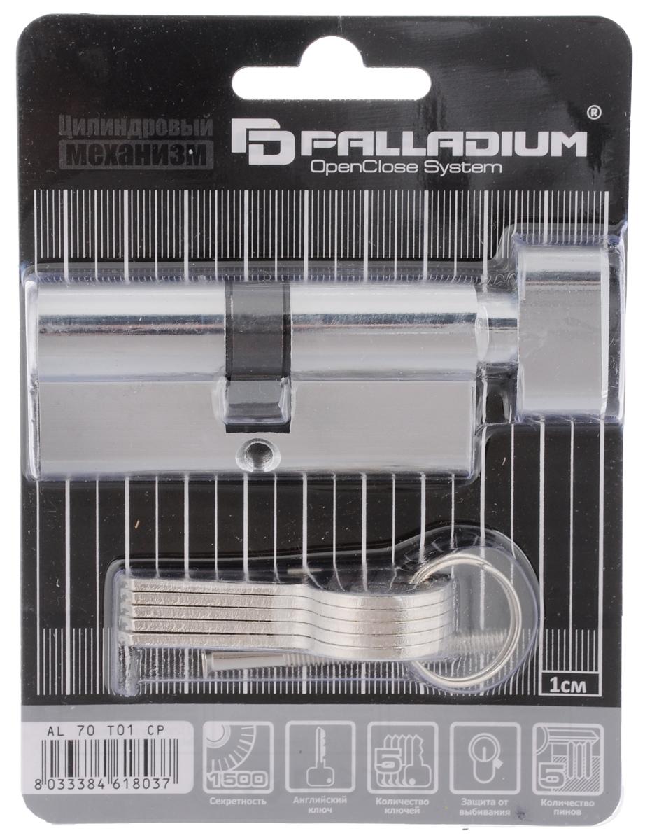 Цилиндровый механизм Palladium Sarento, ключ-завертка, цвет: хром, 9 см