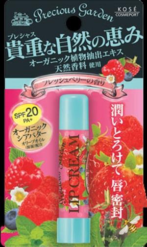Кose Бальзам для губ Свежие ягоды с органическими экстрактами растений Cosmeport Precious Garden383799Бальзам для губ с органическими растительными ингредиентами. Кисло-сладкий аромат свежих ягод. Надежно защищает чувствительную кожу губ - летом от ультрафиолетового излучения, зимой от мороза, а весной и осенью от обветривания (SPF20?PA+). Способ применения: Откройте колпачок помады и нанесите на губы тонким слоем. Меры предосторожности: Храните в месте недоступном для детей. Плотно закрывайте крышку после использования. Хранить в сухом прохладном месте.
