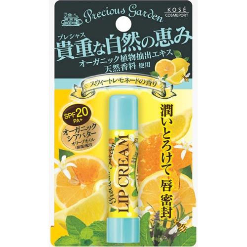Кose Бальзам для губ Сочный цитрус с органическими экстрактами растений Cosmeport Precious Garden383812Бальзам для губ с органическими растительными ингредиентами. Сладкий аромат лимона и меда. Надежно защищает чувствительную кожу губ - летом от ультрафиолетового излучения, зимой от мороза, а весной и осенью от обветривания (SPF20?PA+). Способ применения: Откройте колпачок помады и нанесите на губы тонким слоем. Меры предосторожности: Храните в месте недоступном для детей. Плотно закрывайте крышку после использования. Хранить в сухом прохладном месте.