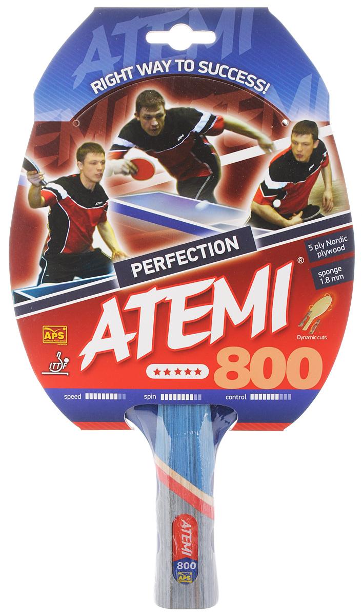 Ракетка для настольного тенниса ATEMI Perfection 800, цвет: красный, черный800 ANATEMI Perfection 800 - ракетка тренировочного класса, предназначена для игры в настольный теннис для любителей и игроков начального уровня. Ракетка имеет основание из 5 слоев скандинавских пород древесины. Анатомическая форма ручки дает превосходные игровые характеристики и улучшает контроль мяча. Основные характеристики: Контроль: 7. Скорость: 8. Кручение: 8.