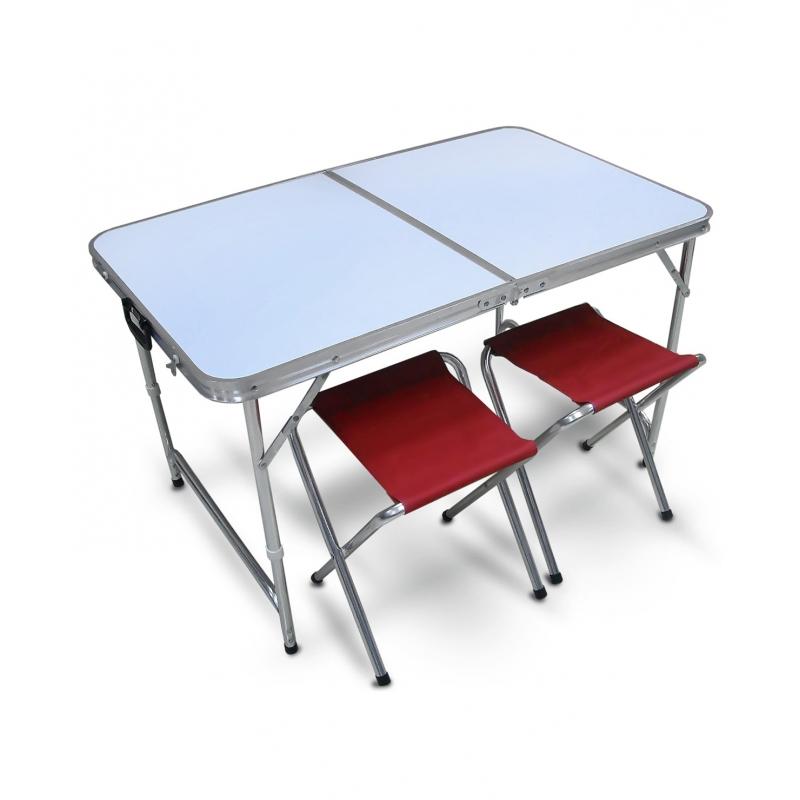 Набор для пикника Reka: стол + 2 стульчика, цвет: бордовый, белыйPT-019Основные характеристики Комплектность: стол, 2 стула Размер стола: 100x60x46/62 см Размер стульев: 34x31x42 см Размер комплекта в собранном виде: 50x60см Материал: МДФ, алюминий 19 мм, 600D полиэстер Страна-производитель: Китай Преимущества: - легкий раскладной стол, очень удобный для похода, кемпинга, дачи; -стол в собранном виде имеет форму чемодана; - стулья складываются и убираются во внутрь стола; - комплект в сложенном виде не занимает много места в багажнике; - удобная ручка для переноски; - стол легко моется и просто собирается.