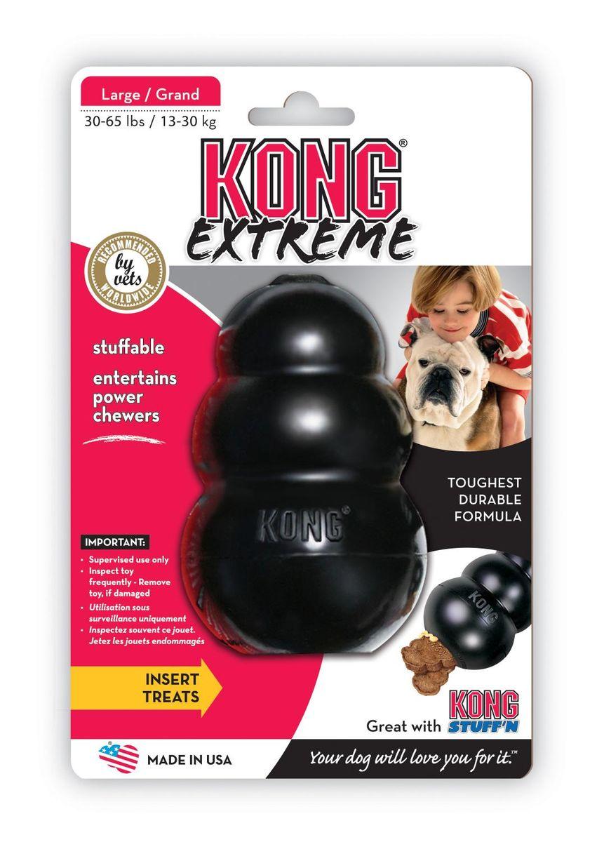 Игрушка для собак Kong Extreme, очень прочная большая, 10 х 6 смK1Kong Extreme игрушка для собак КОНГ очень прочная большая 10 см. Игрушка для крупных пород собак (13-30 кг) из особо прочной, литой резины. Запатентованная формула резины гарантирует долговечность забавы. Ветеринары и тренеры советуют заполнить игрушку лакомством, тем самым вы сможете с легкостью поддержать отличное настроение питомца, а также предотвратить его нежелательное поведение. Игрушку можно ипсользовать как мячик, при соприкосновении с поверхностью она пружинит и получает непредсказуемую траекторию.