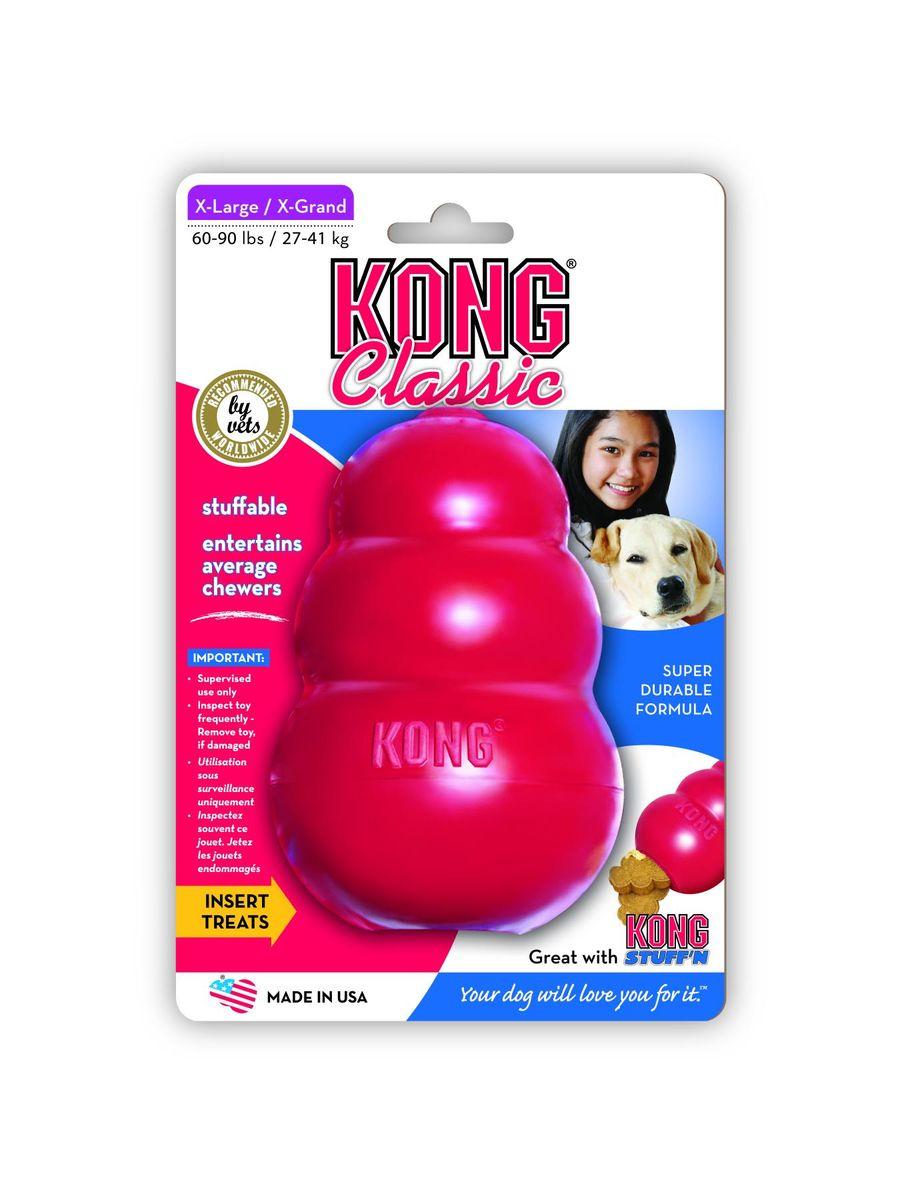 Игрушка для собак Kong Classic, очень большая, 13 х 8 смKXLИгрушка для собак очень крупных пород (27-41 кг) Classic уже 30 лет является «золотым» стандартом игрушек для собак. Великолепные пружинистые свойства и красная натуральная резина отлично подходят для собак с сильными челюстями. Оригинальная форма игрушки позволяет наполнить ее лакомством, которое собака достает в процессе игры. Ветеринарные врачи и тренеры рекомендуют использование игрушек KONG, наполненных лакомствами, для поддержания хорошего настроения питомца и предотвращения нежелательного поведения.