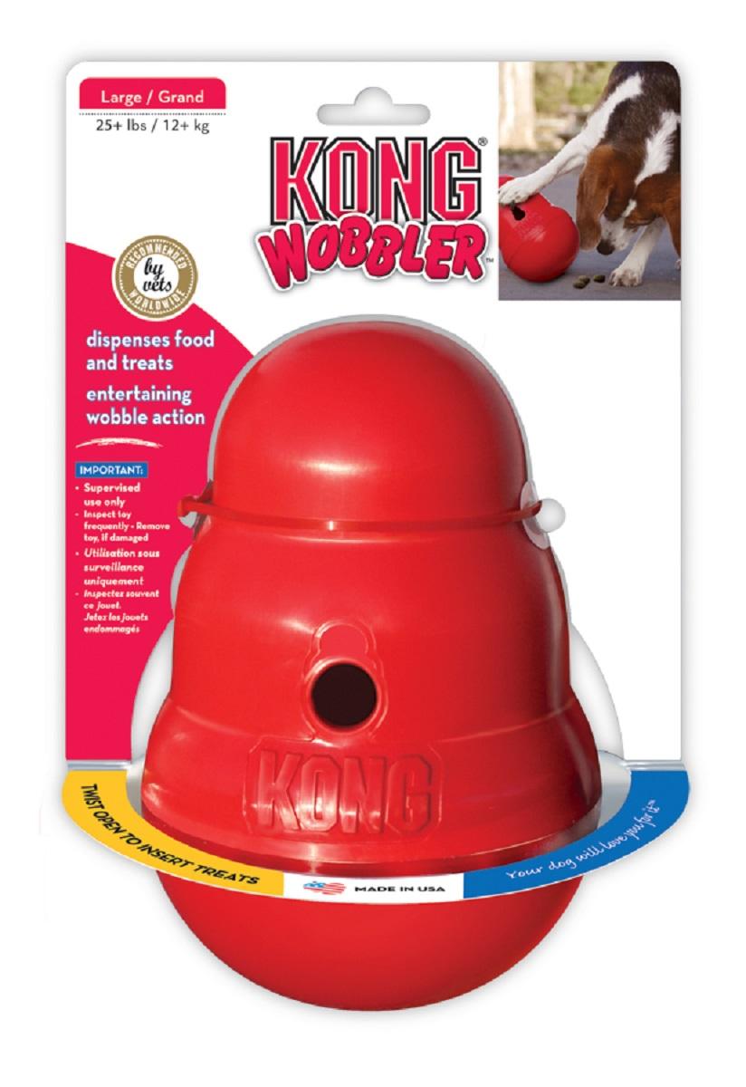 Игрушка для крупных собак Kong Wobbler, интерактивная, 13 х 13 х 19,5 смPW1EKong Wobbler - это интерактивная игрушка для собак с функцией дозировки еды. Изделие выполнено из высококачественного каучука. Игрушка стоит вертикально, пока собака не толкнет ее носом или лапой. Лакомства или корм выпадают по мере того как игрушка катится и вращается. Благодаря непредсказуемости движения, игрушка остается занимательной даже для собак, давно к ней привыкших. Вы можете использовать ее как альтернативу обычной миске, так как она помогает продлить время кормления, тем самым предотвращая переедание и набор лишнего веса. Поддержание активности и хорошей физической формы важно для профилактики заболеваний сердечно-сосудистой и опорно-двигательной системы.
