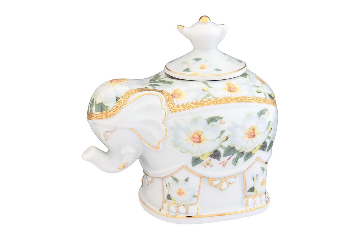 Чайница Elan Gallery Белый шиповник, 350 мл503844Загадочная страна Индия: чай, слоны, солнце, праздник! Чайник, выполненный в форме слона, будет напоминать Вам об Индии и наполнит Ваш дом солнечным настроением. Изделие имеет подарочную упаковку, идеальный подарок для Ваших близких!
