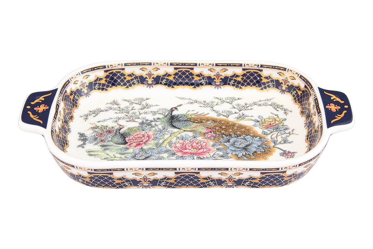 Шпротница Elan Gallery Павлин, цвет: золотой, 18 х 10,5 х 2,5 см504014Изящная шпротница изготовлена из фарфора. Благодаря прекрасному дизайну шпротница станет отличным дополнением к вашему кухонному инвентарю. Размер: 18 х 10,5 х 2,5 см.