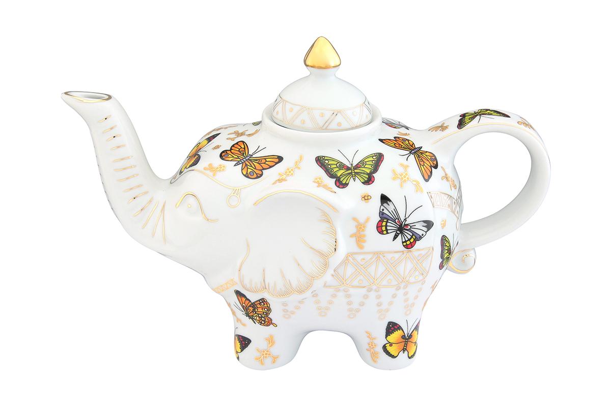 Чайник заварочный Elan Gallery Бабочки, 750 мл504055Загадочная страна Индия: чай, слоны, солнце, праздник! Чайник, выполненный в форме слона, будет напоминать Вам об Индии и наполнит Ваш дом солнечным настроением. Изделие имеет подарочную упаковку, идеальный подарок для Ваших близких!