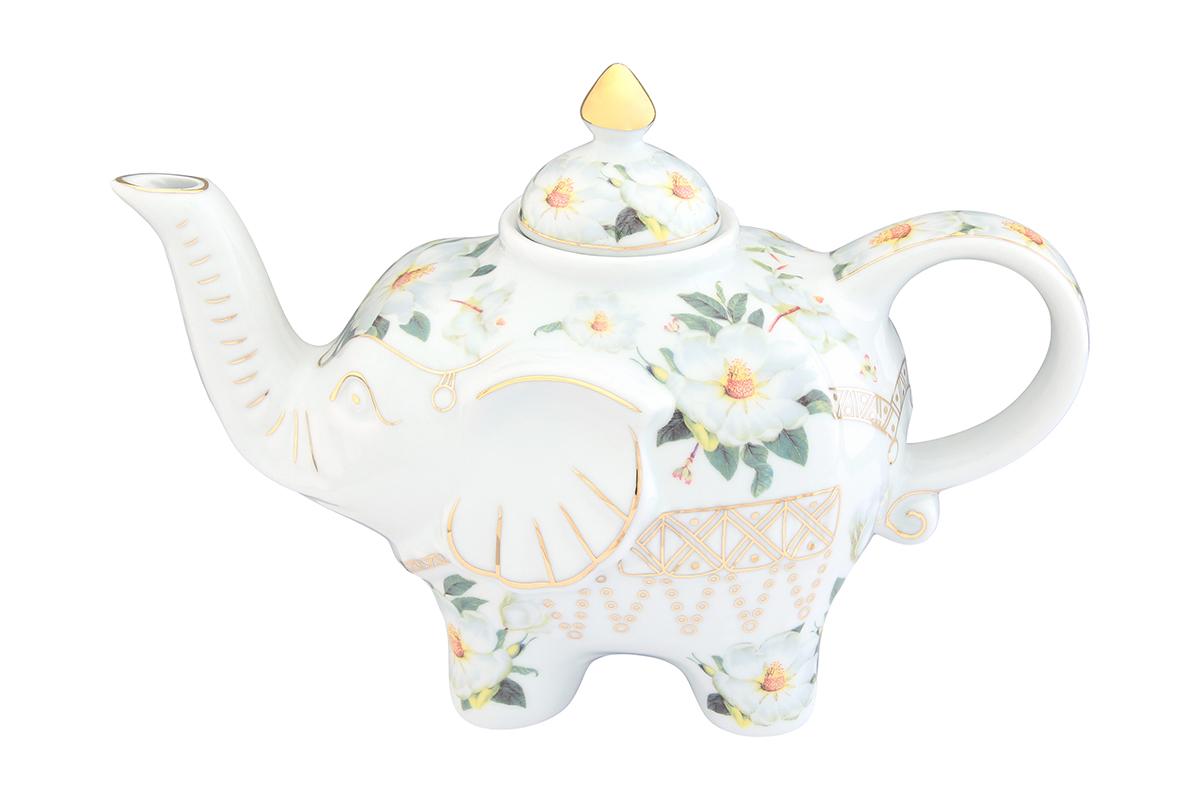 Чайник заварочный Elan Gallery Белый шиповник, 750 мл504058Загадочная страна Индия: чай, слоны, солнце, праздник! Чайник, выполненный в форме слона, будет напоминать Вам об Индии и наполнит Ваш дом солнечным настроением. Изделие имеет подарочную упаковку, идеальный подарок для Ваших близких!