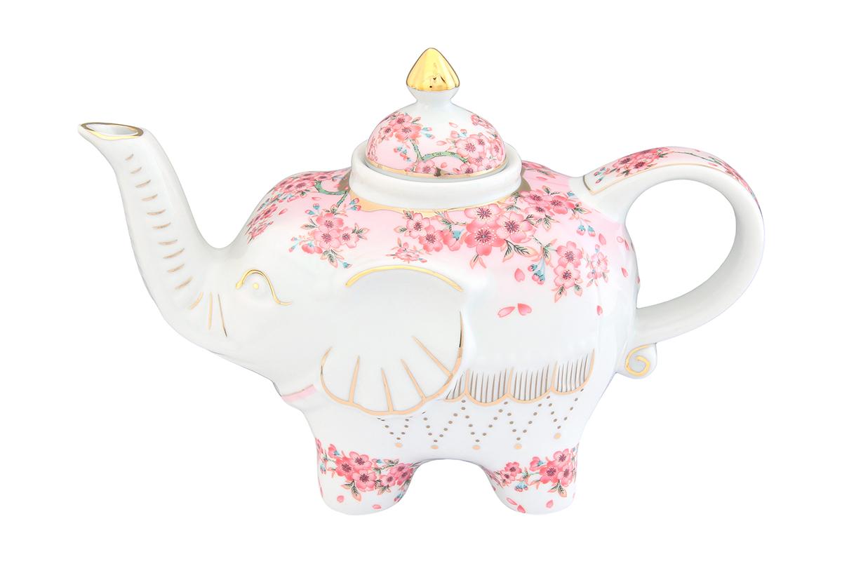 Чайник заварочный Elan Gallery Сакура, 750 мл504059Загадочная страна Индия: чай, слоны, солнце, праздник! Чайник, выполненный в форме слона, будет напоминать Вам об Индии и наполнит Ваш дом солнечным настроением. Изделие имеет подарочную упаковку, идеальный подарок для Ваших близких!