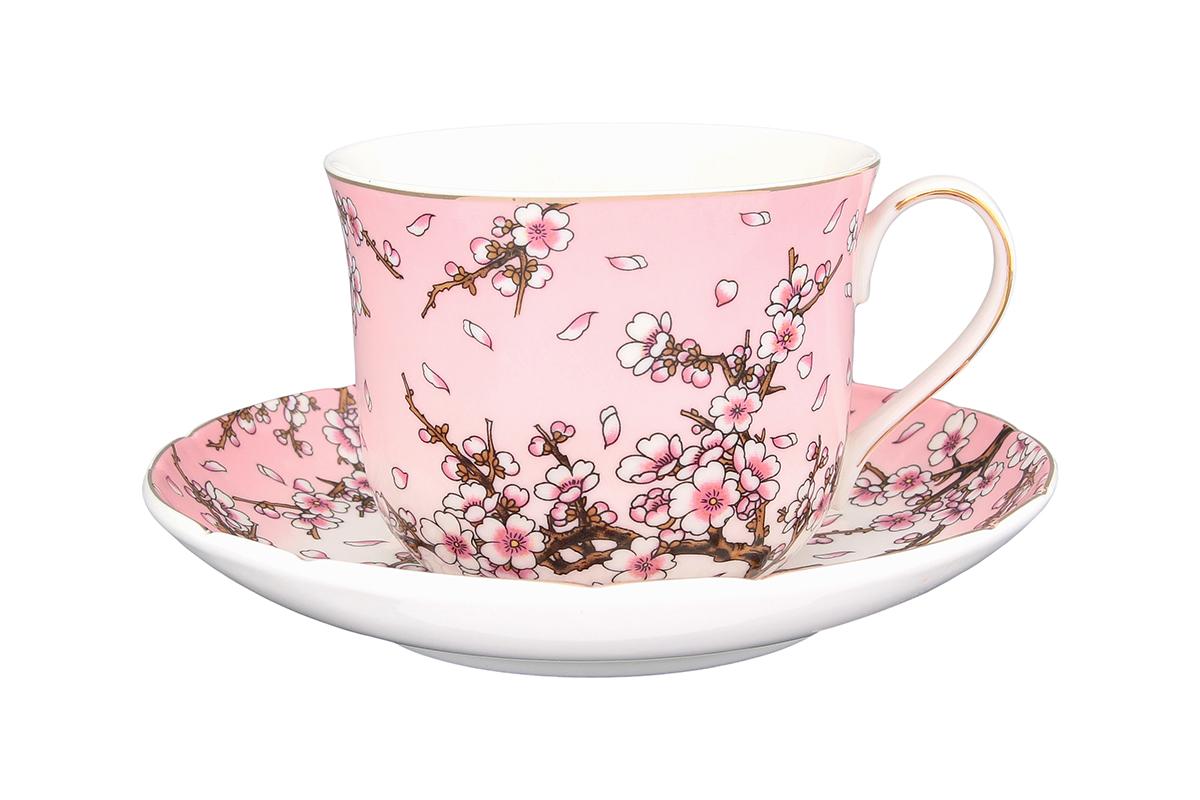 Чайная пара Elan Gallery Сакура на розовом, 400 мл730530Чайный набор - это отличный подарок, подходящий для любого повода. Принесет в Ваш дом красоту и уют душевных чаепитий! В комплекте чашка объемом 400 мл. и блюдце.