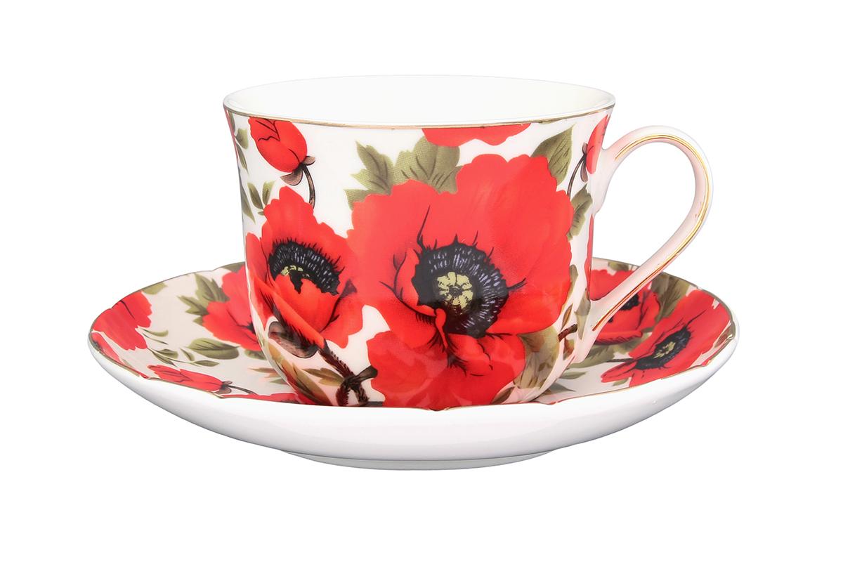 Чайная пара Elan Gallery Маки, 400 мл730534Чайный набор - это отличный подарок, подходящий для любого повода. Принесет в Ваш дом красоту и уют душевных чаепитий! В комплекте чашка объемом 400 мл. и блюдце.