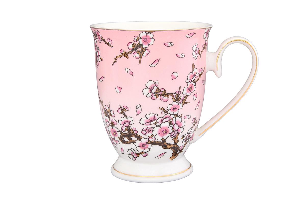 Кружка Elan Gallery Сакура на розовом, 300 мл730545Очень красивая кружка с нежным узором понравится любой девушке. В такой кружке любой напиток покажется еще вкуснее. Поднимет настроение и будет радовать глаз каждый день. Подойдет в качестве подарка утонченной особе. Объем 300мл.