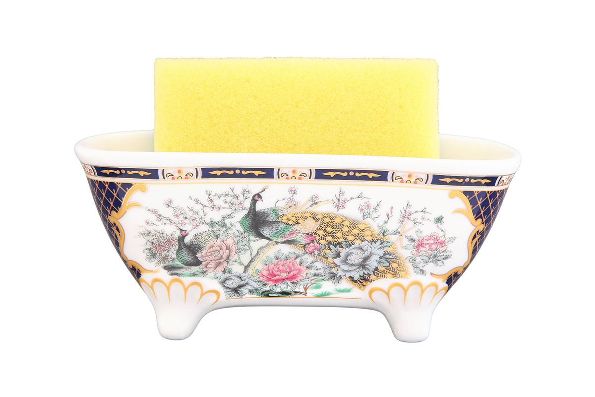 Подставка для губки Elan Gallery Павлин на золоте, с губкой, 14,5 х 6 х 6 см740196Подставка для губки сохранит порядок и чистоту вокруг раковины. Очень удобна в использовании. Также в комплект входит поролоновая с абразивным слоем губка.