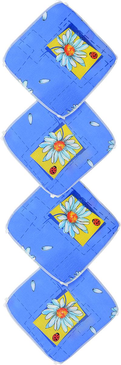 Набор подушек для стула Eva, цвет: синий, белый, желтый, 34 х 34 см, 4 штЕ06-1_синий, ромашкаПодушки на стул Eva, выполненные из хлопка с наполнителем из поролона, легко крепятся на стул с помощью завязок. Изделия прекрасно подойдут для стульев на кухне или в столовой. Правильно сидеть - значит сохранить здоровье на долгие годы. Жесткие сидения подвергают наше здоровье опасности. Подушки с наполнителем из поролона помогут предотвратить многие беды, которыми грозит сидячий образ жизни. Комплектация: 4 шт. Размер подушки: 34 х 34 х 0,6 см.