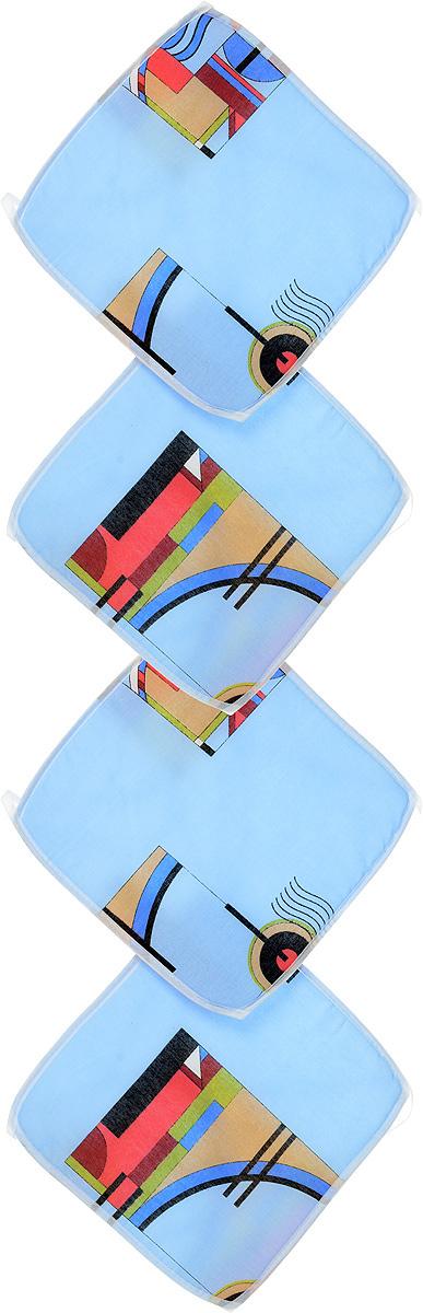 Набор подушек для стула Eva, цвет: голубой, розовый, зеленый, 34 х 34 см, 4 штЕ06-1_голубой с рисункомПодушки на стул Eva, выполненные из хлопка с наполнителем из поролона, легко крепятся на стул с помощью завязок. Изделия прекрасно подойдут для стульев на кухне или в столовой. Правильно сидеть - значит сохранить здоровье на долгие годы. Жесткие сидения подвергают наше здоровье опасности. Подушки с наполнителем из поролона помогут предотвратить многие беды, которыми грозит сидячий образ жизни. Комплектация: 4 шт. Размер подушки: 34 х 34 х 0,6 см.