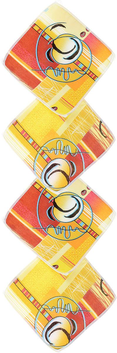 Набор подушек для стула Eva, цвет: жёлтый, красный, 34 х 34 см, 4 штЕ06-1_жёлтый, красныйНабор подушек для стула Eva, цвет: жёлтый, красный, 34 х 34 см, 4 шт