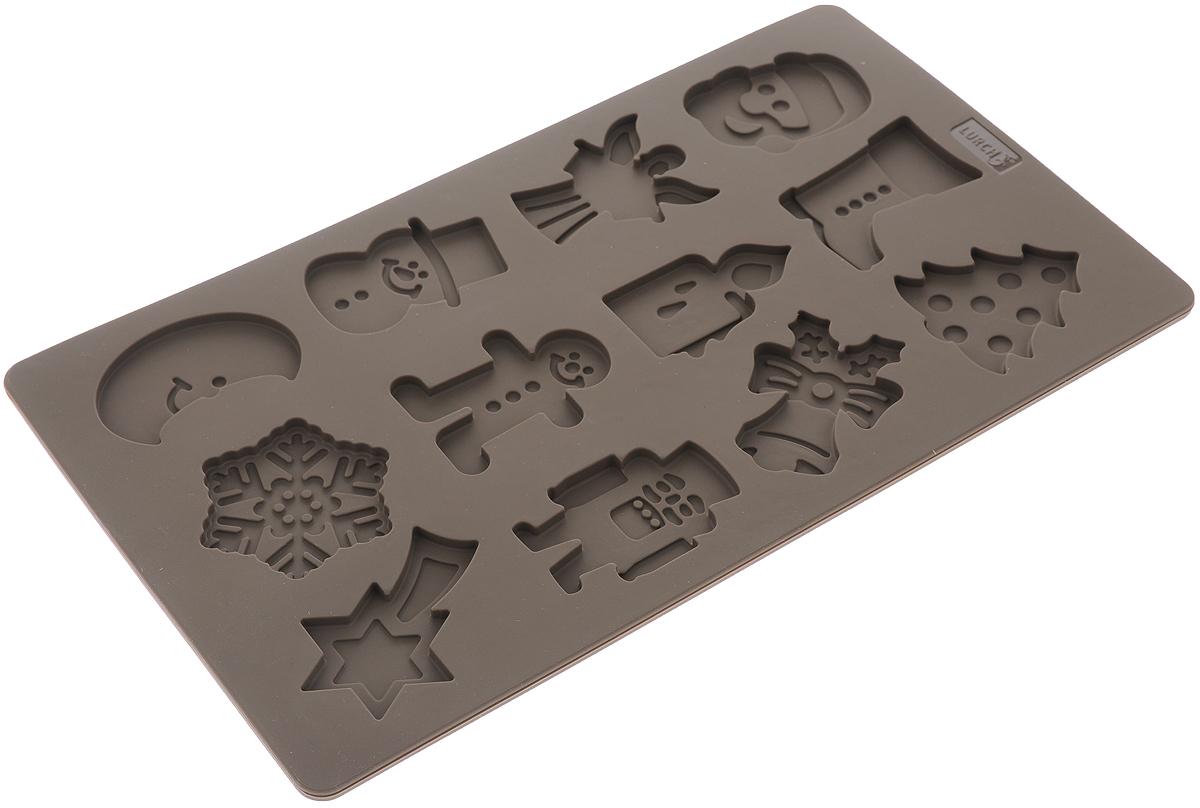 Форма для выпечки Lurch Flexi Form, силиконовая, цвет: коричневый, 12 ячеек65021Форма для выпечки Lurch Flexi Form изготовлена из высококачественного силикона. Стенки формы легко гнутся, что позволяет легко достать готовую выпечку и сохранить аккуратный внешний вид блюда. Форма имеет 12 фигурных ячеек. Изделия из силикона очень удобны в использовании: пища в них не пригорает и не прилипает к стенкам, форма легко моется. Приготовленное блюдо можно с легкостью вытащить, просто перевернув форму, при этом внешний вид блюда не нарушится. Изделие обладает эластичными свойствами: складывается без изломов, восстанавливает свою первоначальную форму. Порадуйте своих родных и близких любимой выпечкой в необычном исполнении. Подходит для приготовления в микроволновой печи и духовом шкафу при нагревании до +240°С; для замораживания до -40°С. Средний размер ячейки: 5,5 х 4 х 0,6 см. Размер формы: 30 х 17,5 х 0,7 см.