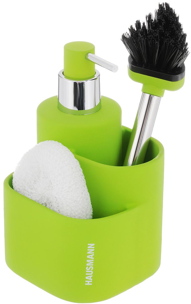 Дозатор для моющего средства Hausmann, с губкой, с щеткой, цвет: салатовый, 350 млHM-B0069R-2Дозатор Hausmann, изготовленный из высококачественной керамики, очень удобен и прост в использовании: просто нажмите на него и выдавите необходимое количество средства. Дозатор подходит для жидкого мыла, моющего средства для мытья посуды, различных лосьонов. В комплекте поставляется губка и щетка. Такой дозатор стильно дополнит интерьер кухни или ванной комнаты и станет замечательным приобретением для любой хозяйки. Позволяет экономно расходовать мыло. Размер дозатора (с учетом крышки): 11,3 х 10,5 х 18 см. Размер губки: 9 х 8 х 3 см. Длина щетки: 21 см. Длина ворса щетки: 3 см.