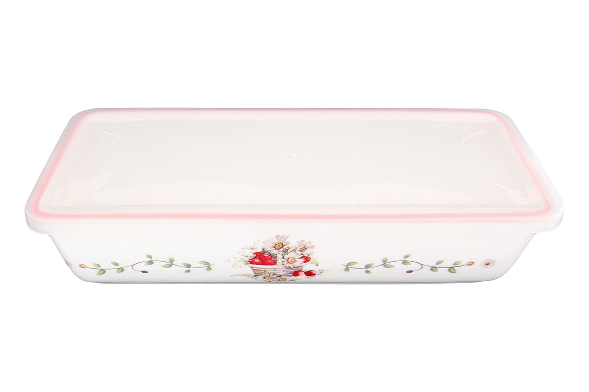 Блюдо для холодца Elan Gallery Ромашки, прямоугольное, с крышкой, 28 х 13 х 6,5 см101286Блюдо для холодца, изготовленное из высококачественной керамики, предназначено для приготовления и хранения заливного или холодца. Пластиковая крышка, входящая в комплект, сохранит свежесть вашего блюда. Также блюдо можно использовать для приготовления и хранения салатов. Такое блюдо украсит сервировку вашего стола и подчеркнет прекрасный вкус хозяйки. Объем 1 литр.