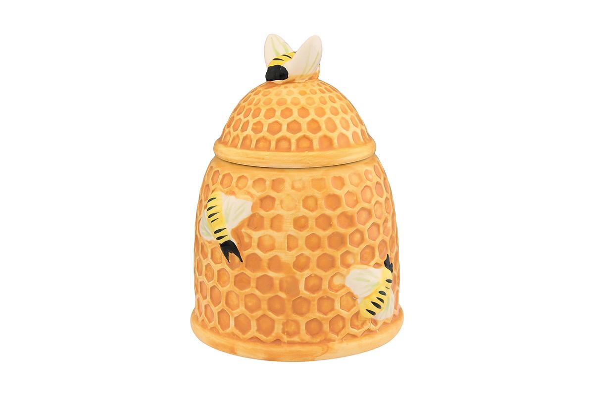 Горшочек для меда Elan Gallery Пчелки на сота х , 450 мл110826Очень милый горшочек для меда украсит Вашу кухню, особенно на даче. Благодаря съемной силиконовой прокладке на крышке горшочек плотно закрывается. Можно использовать для сыпучих продуктов - соли и сахара. Изделие имеет подарочную упаковку, поэтому станет желанным подарком для Ваших близких!