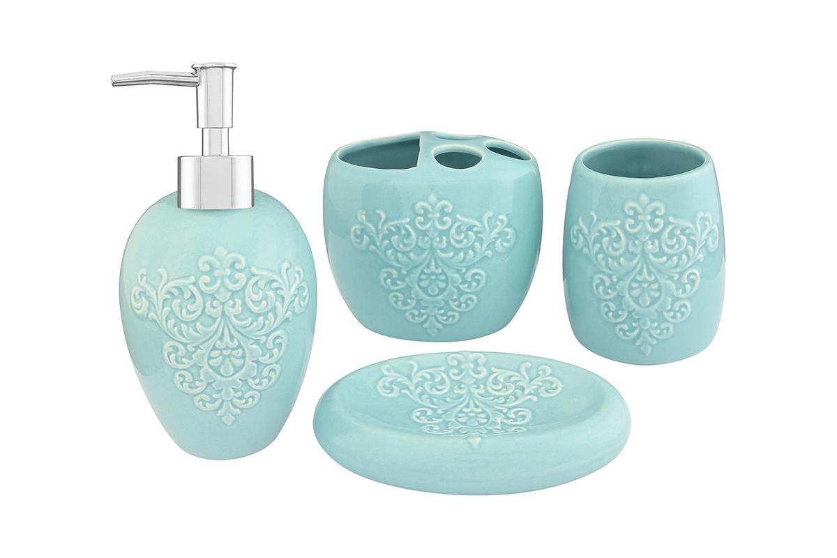 Набор для ванной комнаты Elan Gallery, цвет: бирюзовый, 4 предмета110831Набор для ванной комнаты Elan Gallery включает стакан, подставку для зубных щеток, мыльницу и диспенсер для жидкого мыла с дозатором. Набор выполнен из керамики высокого качества. Все элементы выдержаны в одном стиле, что позволяет создать в ванной комнате стильный и оригинальный функционально- декоративный ансамбль. Такой набор аксессуаров придаст интерьеру вашей ванной комнаты элегантность и современность. Размер мыльницы: 14,5 х 9,5 х 3,5 см. Размер стакана: 8 х 8 х 11 см. Размер подставки для щеток: 11,5 х 8 х 10 см. Размер диспенсера: 9 х 9 х 19 см. Объем диспенсера: 400 мл.