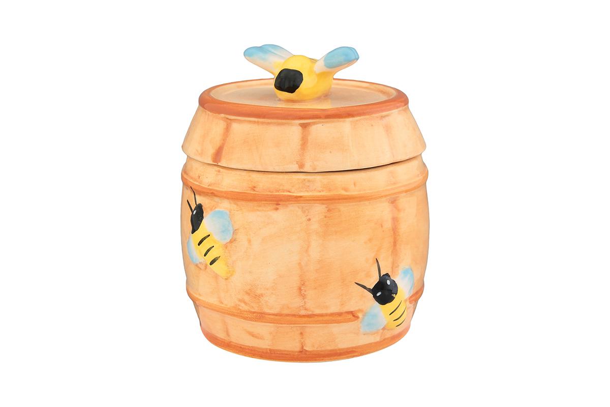 Горшочек для меда Elan Gallery Бочонок, 250 мл110848Очень милый горшочек для меда украсит Вашу кухню, особенно на даче. Благодаря съемной силиконовой прокладке на крышке горшочек плотно закрывается. Можно использовать для сыпучих продуктов - соли и сахара. Изделие имеет подарочную упаковку, поэтому станет желанным подарком для Ваших близких!