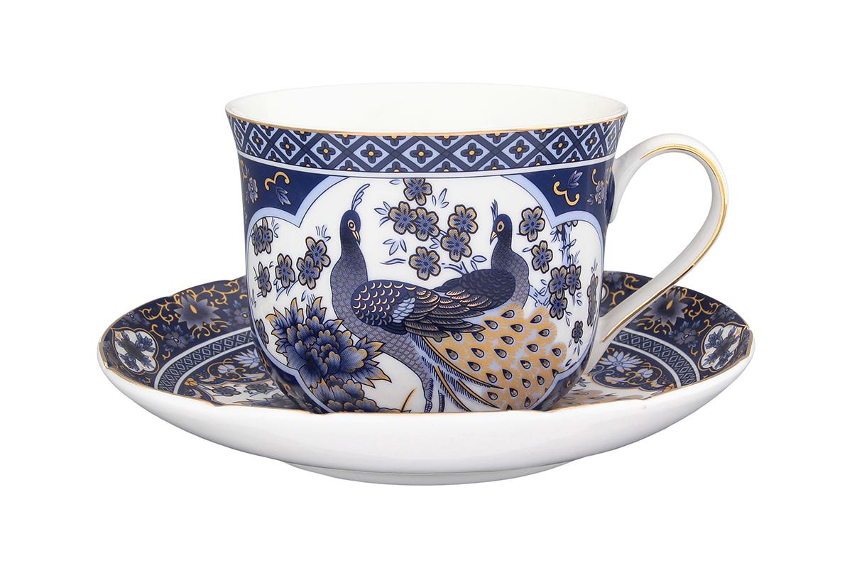 Чайная пара Elan Gallery Павлин синий, 400 мл730531Чайный набор - это отличный подарок, подходящий для любого повода. Принесет в Ваш дом красоту и уют душевных чаепитий! В комплекте чашка объемом 400 мл. и блюдце.