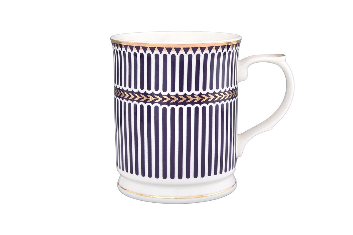 Кружка Elan Gallery Синие полоски, 400 мл730550Кружка выполненная из керамики, станет оригинальным подарком! Идеальна для тех, кто предпочитает большие кружки и для любителей душевных чаепитий!. Объем 400мл.