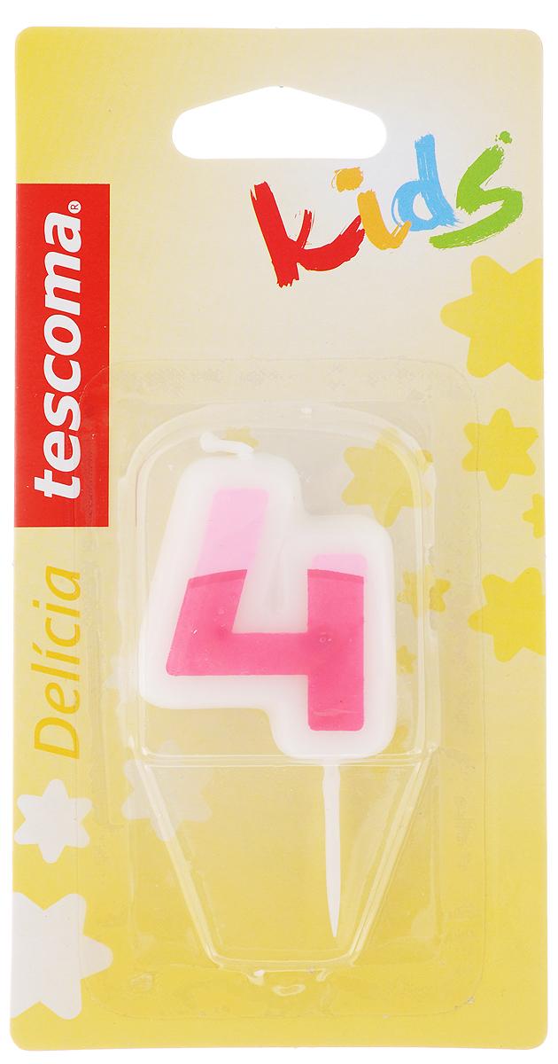Свеча для торта Tescoma Delicia Kids, четверка, цвет: белый, розовый630974_розовыйСвеча для торта Tescoma Delicia Kids изготовлена из высококачественного парафина, фитиль - натуральное волокно. Это отличное решение для декорирования торта к празднику. Ее можно комбинировать с другими цифрами. Изделие хорошо и долго горит. С этой свечой ваш праздник станет еще удивительнее и веселее. Высота свечи (без учета иглы): 4,5 см.