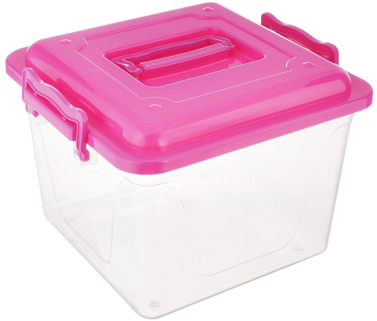 Контейнер Альтернатива, цвет: прозрачный, малиновый, 8,5 лМ1032_малиновыйКонтейнер Альтернатива прекрасно подойдет для хранения небольших игрушек, инструментов, швейных принадлежностей и многого другого. Он изготовлен из высококачественного пластика. Контейнер плотно закрывается крышкой с двумя защелками. Удобный и легкий контейнер позволит вам хранить вещи в полном порядке, а благодаря современному дизайну он впишется в любой интерьер. Контейнер имеет компактные размеры, поэтому не занимает много места. Размер (с учетом крышки): 26 х 27 х 20,5 см.