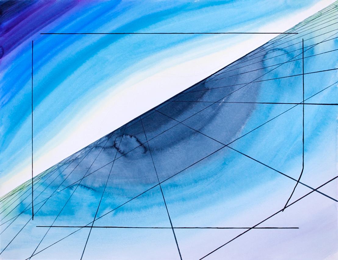 Авторская графика Кадрирование, 65х50. Автор Сергей ЛоцмановSL12-004Графика Сергея Лоцманова. Сергей Лоцманов, художник Галереи 21, один из немногих молодых авторов, который работает со сложнейшей техникой нанесения геометрических образов акварелью и тушью на бумагу, а также создает концептуальные инсталляции из найденных материалов.