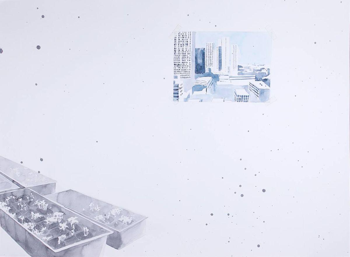 Авторская графика Рассада 2, 75х55. Автор Сергей ЛоцмановSL12-008Графика Сергея Лоцманова. Сергей Лоцманов, художник Галереи 21, один из немногих молодых авторов, который работает со сложнейшей техникой нанесения геометрических образов акварелью и тушью на бумагу, а также создает концептуальные инсталляции из найденных материалов.