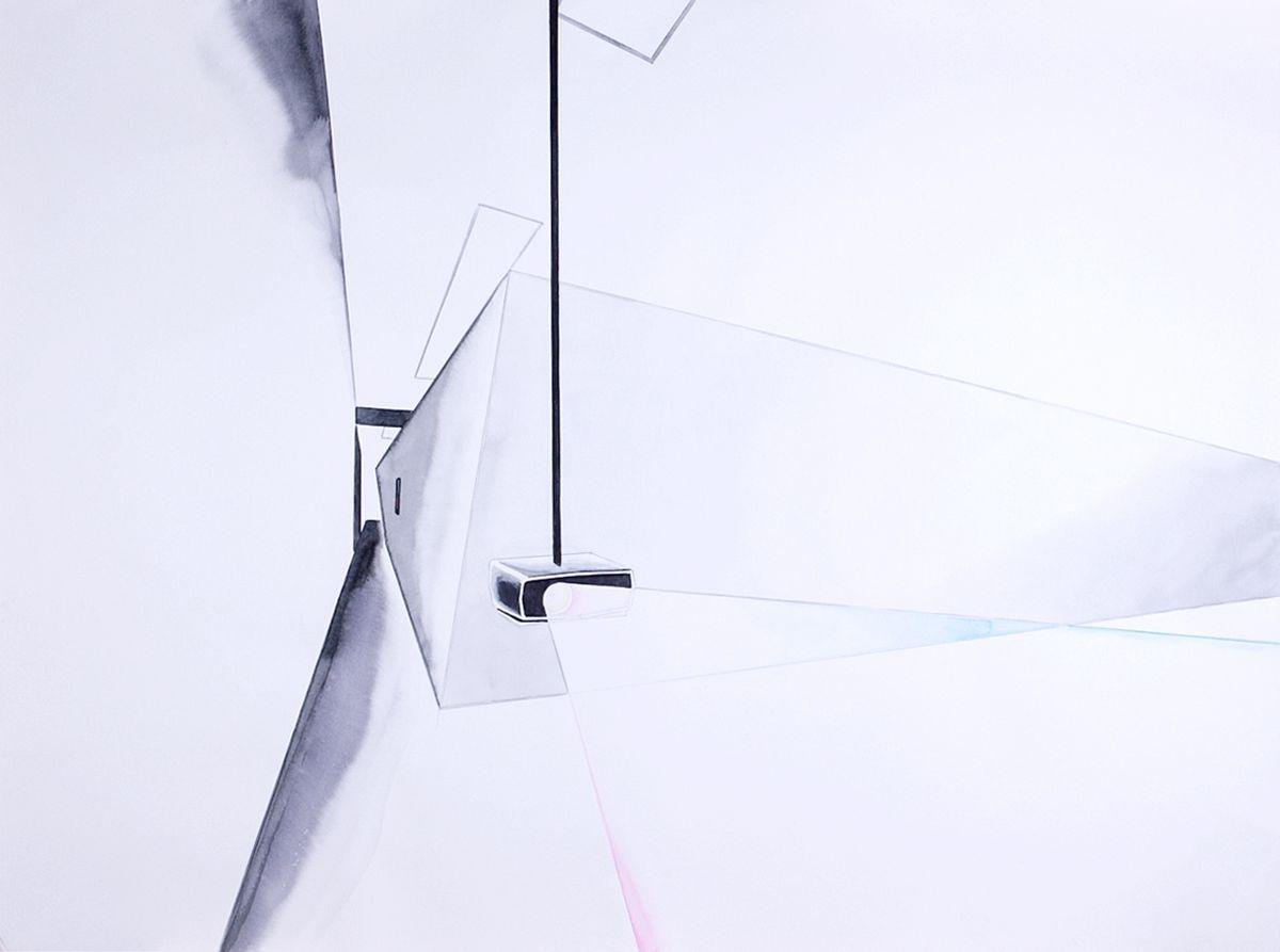 Авторская графика Между видимость, 75х55. Автор Сергей ЛоцмановSL12-019Графика Сергея Лоцманова. Сергей Лоцманов, художник Галереи 21, один из немногих молодых авторов, который работает со сложнейшей техникой нанесения геометрических образов акварелью и тушью на бумагу, а также создает концептуальные инсталляции из найденных материалов.