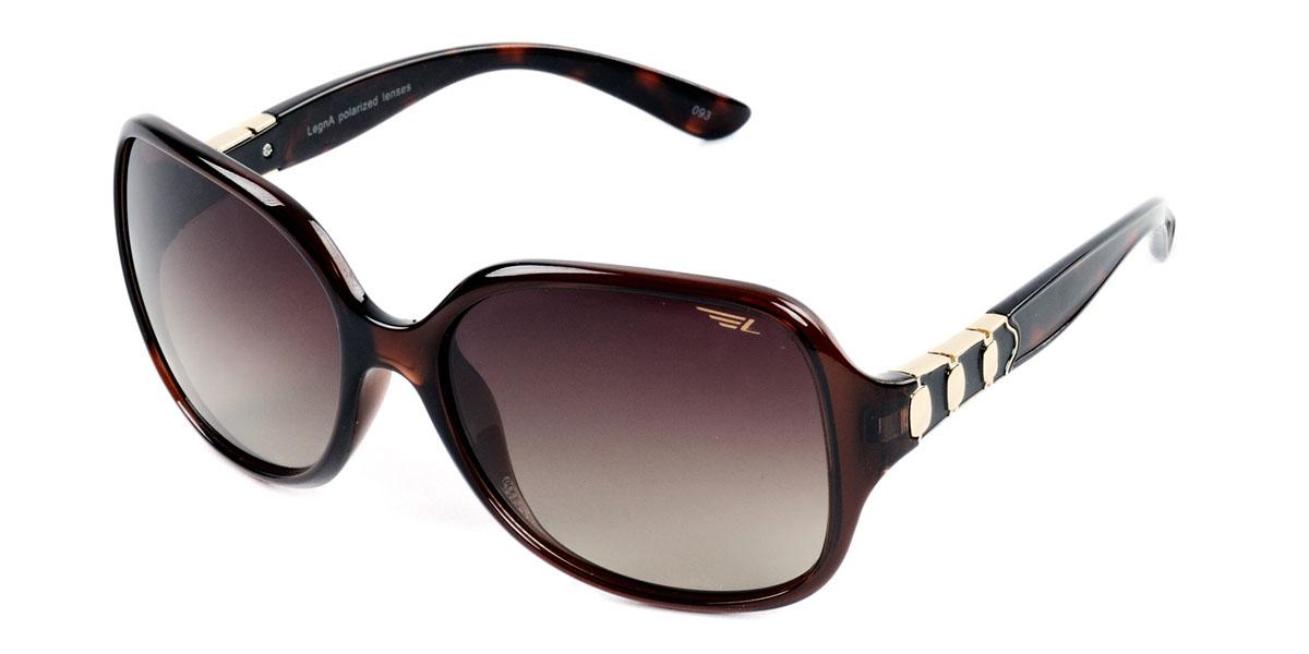 Очки женские поляризационные Legna, цвет: коричневый. S8405BS8405BСтильные солнцезащитные очки Legna сделают приятной прогулку в жаркий солнечный полдень. Их также по достоинству оценят водители, так как эта модель очков оснащена уникальными поляризационными линзами, которые задерживают раздражающие блики, что гарантирует полный зрительный комфорт и, как результат, повышенную безопасность. Высокоэффективный встроенный УФ фильтр обеспечивает совершенную защиту от вредных ультрафиолетовых лучей Кроме того, это эффектный аксессуар, который наверняка станет «изюминкой» вашего индивидуального стиля. Оправа не только красивая, но и прочная, а линзы со временем не покроются мелкими царапинами. Чистка и обслуживание: Вымыть теплой водой, вытереть мягкой сухой салфеткой. Условия хранения: в футляре при нормальных климатических условиях. Предупреждение: Не использовать в солярии, не смотреть на прямые солнечные лучи, не использовать при управлении автомобилем в сумерках и ночью.