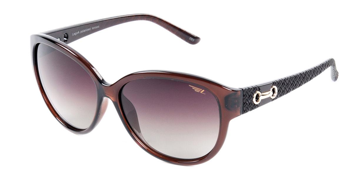 Очки женские поляризационные Legna, цвет: коричневый. S8406BS8406BСтильные солнцезащитные очки Legna сделают приятной прогулку в жаркий солнечный полдень. Их также по достоинству оценят водители, так как эта модель очков оснащена уникальными поляризационными линзами, которые задерживают раздражающие блики, что гарантирует полный зрительный комфорт и, как результат, повышенную безопасность. Высокоэффективный встроенный УФ фильтр обеспечивает совершенную защиту от вредных ультрафиолетовых лучей Кроме того, это эффектный аксессуар, который наверняка станет «изюминкой» вашего индивидуального стиля. Оправа не только красивая, но и прочная, а линзы со временем не покроются мелкими царапинами. Чистка и обслуживание: Вымыть теплой водой, вытереть мягкой сухой салфеткой. Условия хранения: в футляре при нормальных климатических условиях. Предупреждение: Не использовать в солярии, не смотреть на прямые солнечные лучи, не использовать при управлении автомобилем в сумерках и ночью.