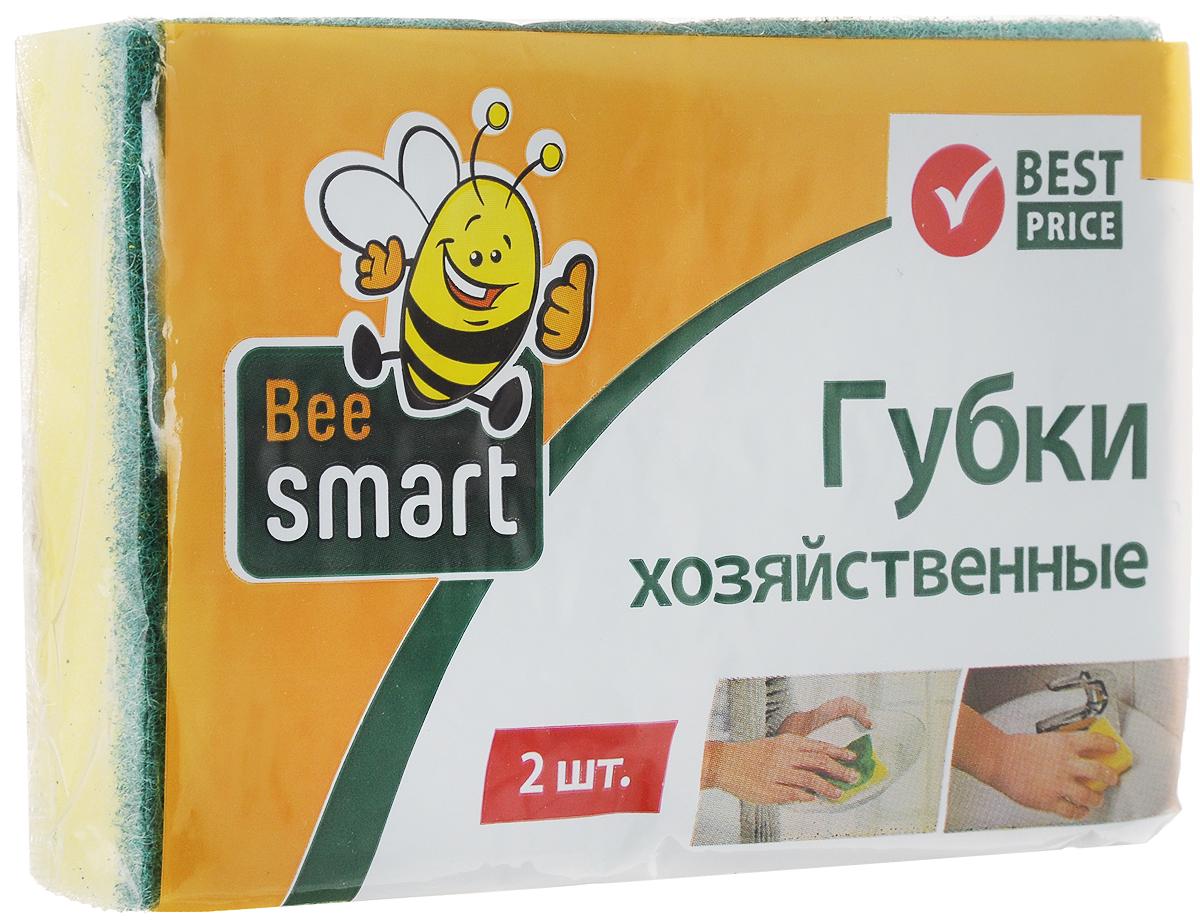 Губка для мытья посуды Beesmart, 2 шт409008Губки Beesmart предназначены для мытья посуды и других поверхностей. Выполнены из пенополиуретана (поролона) и абразивного материала. Мягкий слой используется для деликатной чистки и способствует образованию пены, жесткий - для сильных загрязнений. В комплекте 2 губки.