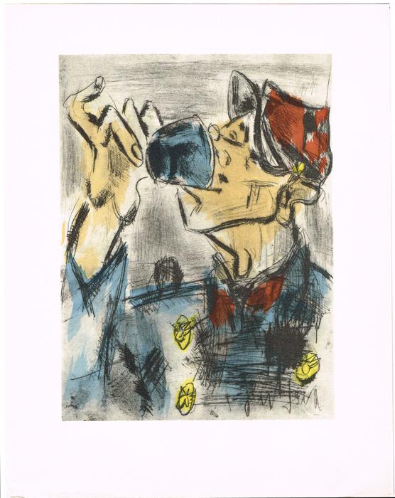 Четвертая. Литография. Жен Поль. Vins, Fleurs et Flammes. Arches. Издатель Bernard Klein, Париж, 1953 годНВА-2 2508 16-39Литография Четвертая (Le Quart du Tourlourou). Автор Жен Поль (Gen Paul; 1895-1975). Из издания Vins, Fleurs et Flammes. Издатель Bernard Klein, Париж, 1953 год. Номер экземпляра 91 / 850. Бумага Arches. Размер 25 х 32,5 см. Сохранность коллекционная. Подпись художника на доске.