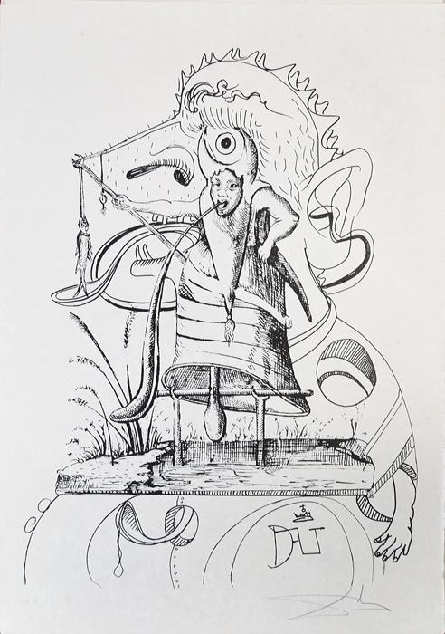 Сон одиннадцатый. Серия Озорные сны Пантагрюэля. Сальвадор Дали, 1973 год15969Сон одиннадцатый. Серия Озорные сны Пантагрюэля (Les Songes drolatiques de Pantagruel). Автор - Сальвадор Дали (1904-1989), испанский художник, один из самых известных представителей сюрреализма. Размер 75 х 53 см. Бумага Japon. Тираж 455 экз. Литография. Париж, изд. Carpentier, 1973 год. Работа отмечена в каталоге Dali: The Catalogue Raisonne of Etchings and Mixed-Media Prints, (1924-1980) (изд. Prestel, 1993) под № 1408