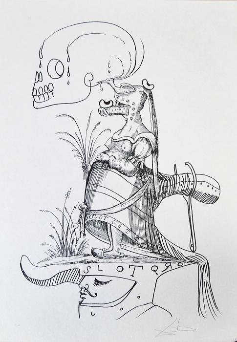 Сон четырнадцатый. Серия Озорные сны Пантагрюэля. Сальвадор Дали, 1973 год15969Сон четырнадцатый. Серия Озорные сны Пантагрюэля (Les Songes drolatiques de Pantagruel). Автор - Сальвадор Дали (1904-1989), испанский художник, один из самых известных представителей сюрреализма. Размер 75 х 53 см. Бумага Japon. Тираж 455 экз. Литография. Париж, изд. Carpentier, 1973 год. Работа отмечена в каталоге Dali: The Catalogue Raisonne of Etchings and Mixed-Media Prints, (1924-1980) (изд. Prestel, 1993) под № 1411