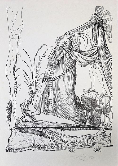 Сон двадцать пятый. Серия Озорные сны Пантагрюэля. Сальвадор Дали, 1973 год15969Сон двадцать пятый. Серия Озорные сны Пантагрюэля (Les Songes drolatiques de Pantagruel). Автор - Сальвадор Дали (1904-1989), испанский художник, один из самых известных представителей сюрреализма. Размер 75 х 53 см. Бумага Japon. Тираж 455 экз. Литография. Париж, изд. Carpentier, 1973 год. Работа отмечена в каталоге Dali: The Catalogue Raisonne of Etchings and Mixed-Media Prints, (1924-1980) (изд. Prestel, 1993) под № 1422
