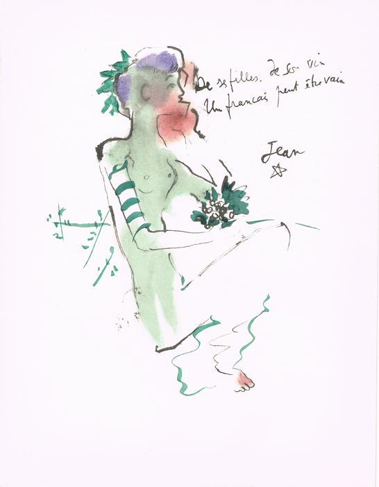 Вакханка. Литография. Жан Кокто. Vins, Fleurs et Flammes. Arches. Издатель Bernard Klein, Париж, 1953 годНВА-2 2508 16-39Литография Вакханка (Bocchante assise). Автор Жан Кокто (Jean Cocteau; 1889-1963). Из издания Vins, Fleurs et Flammes. Издатель Bernard Klein, Париж, 1953 год. Номер экземпляра 91 / 850. Бумага Arches. Размер 25 х 32,5 см. Сохранность коллекционная. Подпись художника на доске.
