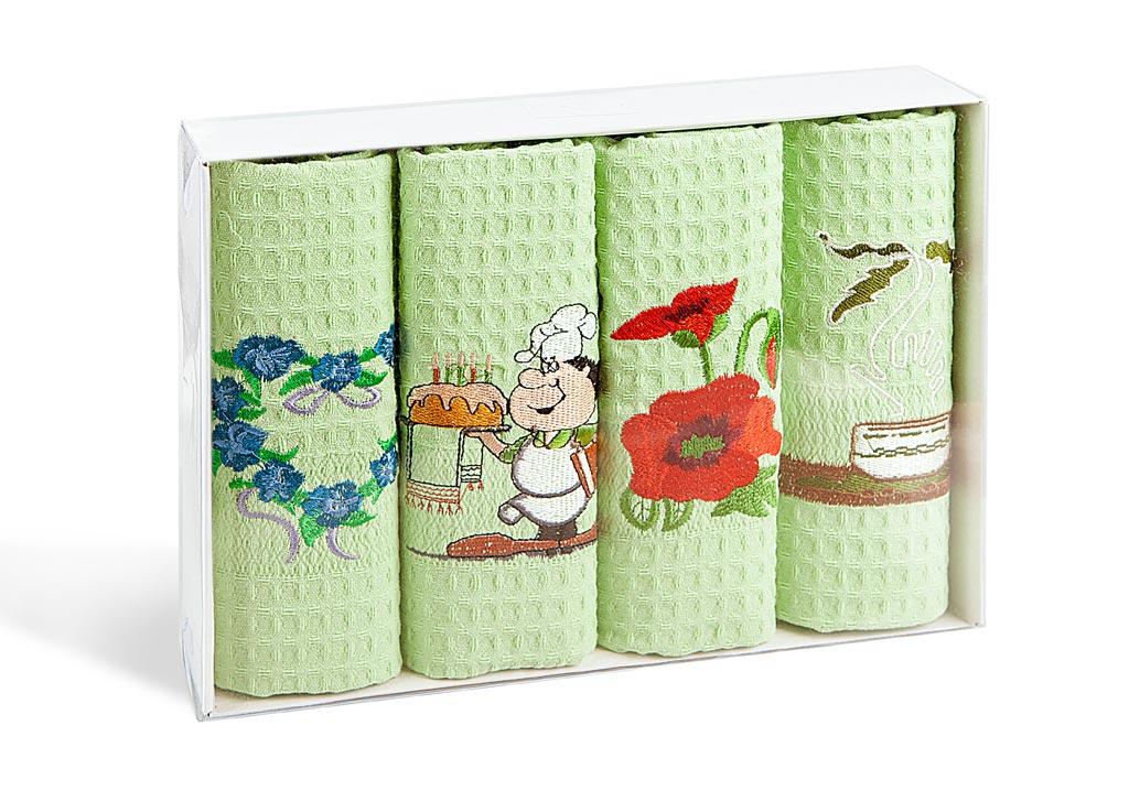 Набор кухонных полотенец Soavita, цвет: светло-зеленый, 40 х 60 см, 4 шт. 40050684005068Набор Soavita состоит из 4 вафельных полотенец. Изделия выполнены из высококачественного 100% хлопка и оформлены яркими вышивками. Полотенца используются для протирки различных поверхностей, также широко применяются в быту. Такой набор станет отличным вариантом для практичной и современной хозяйки.