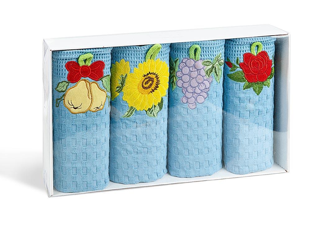 Комплект вафельных полотенец для кухни Soavita, с аппликацией, цвет: голубой, 40 х 60 см, 4 шт4005079Вафельное полотно производят из 100% хлопка. Эти салфетки используется для протирки различных поверхностей, также широко применяется в быту. Одно из главных достоинств вафельных салфеток - впитывающая способность. Такие салфетки впитывают в три раза выше, чем любые другие такого же объема и веса. Soavita – это популярный бренд домашнего текстиля. Дизайнерская студия этой фирмы находится во Флоренции, Италия. Производство перенесено в Китай, чтобы сделать продукцию более доступной для покупателей. Таким образом, вы имеете возможность покупать продукцию европейского качества совсем не дорого. Домашний текстиль прослужит вам долго: все детали качественно прошиты, ткани очень плотные, рисунок наносится безопасными для здоровья красителями, не линяет и держится много лет. Все изделия упакованы в подарочные упаковки.